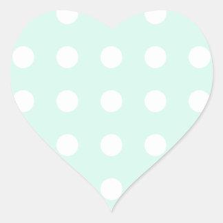 lunares de la verde menta y del blanco pegatina en forma de corazón