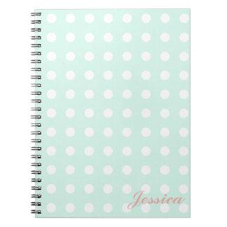 lunares de la verde menta y del blanco spiral notebooks