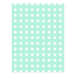 lunares de la verde menta y del blanco tarjeta postal