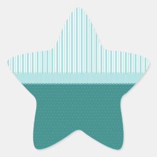 Lunares de las rayas de azules turquesas del pegatina en forma de estrella