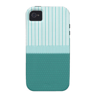 Lunares de las rayas de azules turquesas del trull Case-Mate iPhone 4 fundas