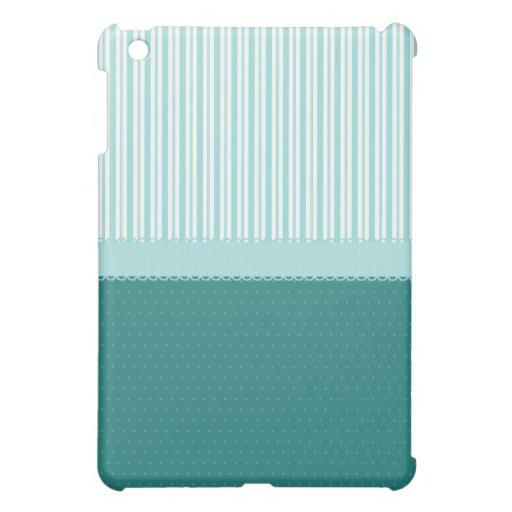 Lunares de las rayas de azules turquesas del trull iPad mini fundas