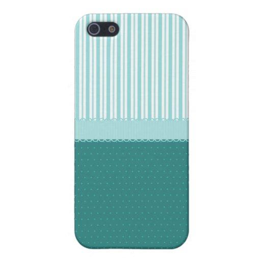 Lunares de las rayas de azules turquesas del trull iPhone 5 protectores