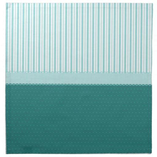 Lunares de las rayas de azules turquesas del trull servilleta