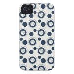 Lunares de los círculos concéntricos de los azules iPhone 4 Case-Mate coberturas