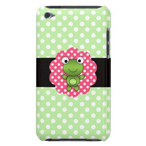 Lunares de lujo del blanco del verde de la rana Case-Mate iPod touch protectores