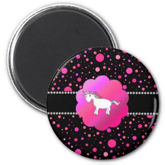 Lunares de lujo del rosa del unicornio imán redondo 5 cm