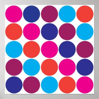Lunares de moda de los círculos coloridos intrépid póster