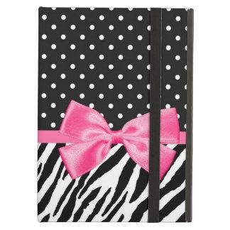 Lunares de moda del estampado de zebra y cinta ros