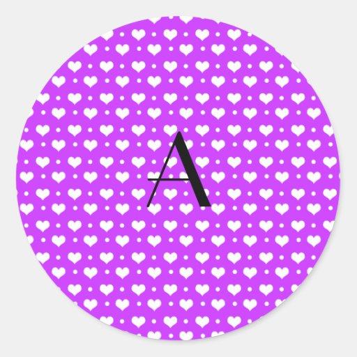 Lunares de neón de los corazones púrpuras del pegatina redonda