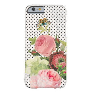 Lunares de PixDezines/rosas ajustables del vintage Funda Para iPhone 6 Barely There