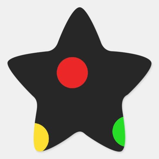 Lunares de Rasta en negro Pegatina En Forma De Estrella