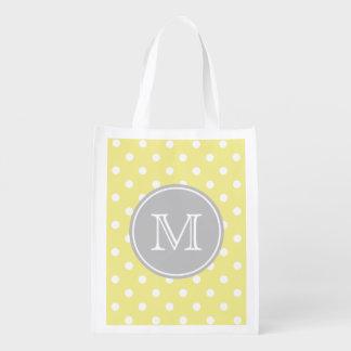 Lunares del amarillo y del blanco de mantequilla bolsas de la compra