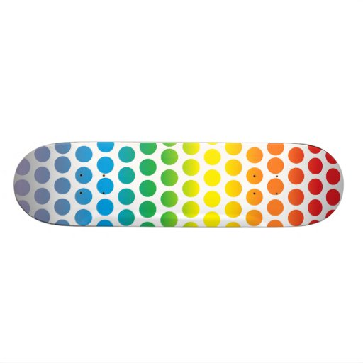 Lunares del arco iris blancos tablas de patinar