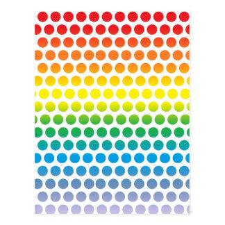 Lunares del arco iris blancos tarjetas postales
