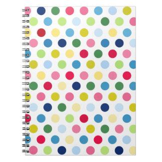 Lunares del arco iris spiral notebook