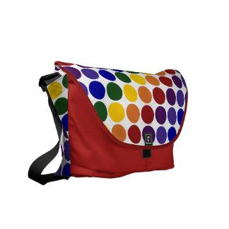 Lunares del arco iris en blanco bolsa messenger
