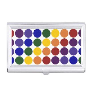 Lunares del arco iris en blanco caja de tarjetas de negocios