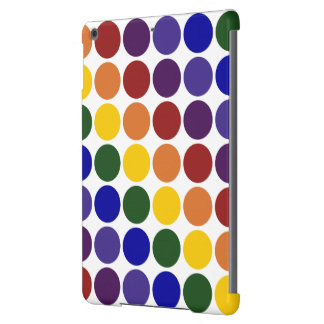 Lunares del arco iris en blanco funda para iPad air