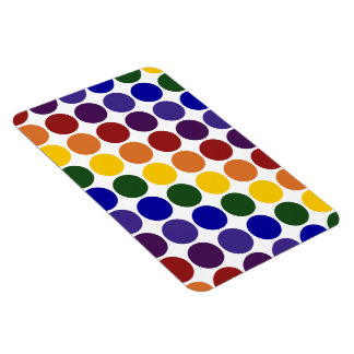 Lunares del arco iris en blanco imán foto rectangular