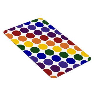 Lunares del arco iris en blanco iman rectangular