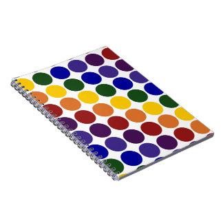Lunares del arco iris en blanco libro de apuntes con espiral