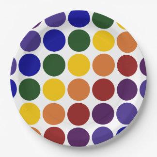 Lunares del arco iris en blanco platos de papel