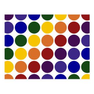 Lunares del arco iris en blanco postal