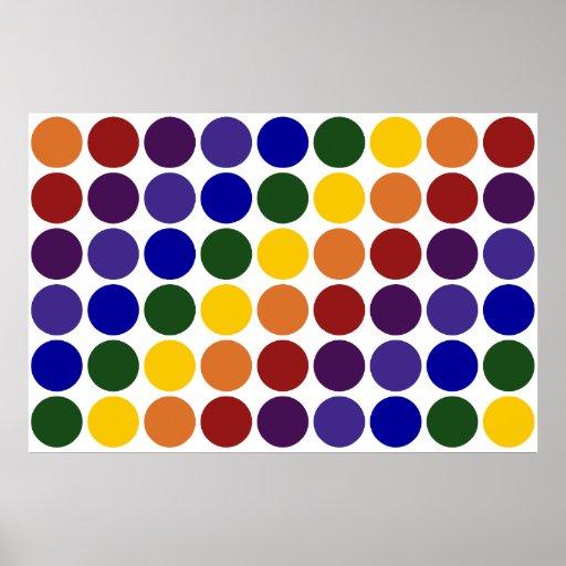 Lunares del arco iris en blanco póster