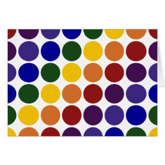 Lunares del arco iris en blanco tarjeta de felicitación