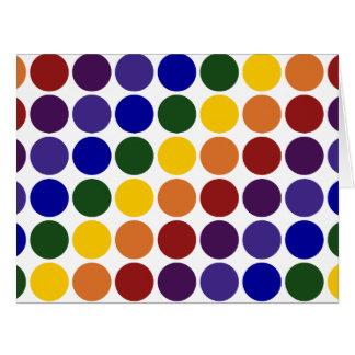 Lunares del arco iris en blanco tarjeta de felicitación grande
