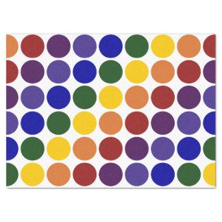 Lunares del arco iris en el papel seda blanco