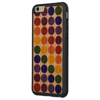 Lunares del arco iris en fondo transparente funda de cerezo bumper carved® para iPhone 6 plus