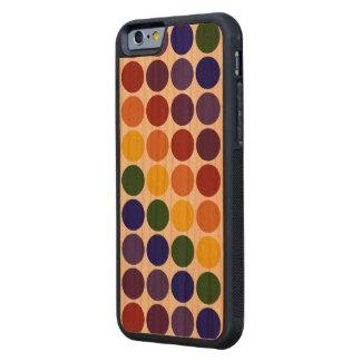 Lunares del arco iris en fondo transparente funda de iPhone 6 bumper cerezo