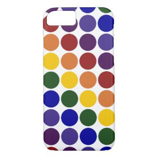 Lunares del arco iris en fondo transparente funda iPhone 7