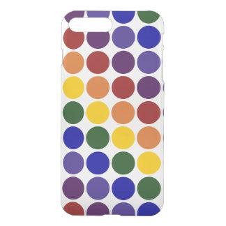 Lunares del arco iris en fondo transparente fundas para iPhone 7 plus