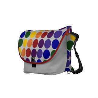 Lunares del arco iris en gris bolsas de mensajeria