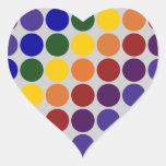 Lunares del arco iris en gris calcomanía corazón personalizadas