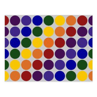 Lunares del arco iris en gris tarjetas postales