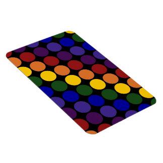Lunares del arco iris en negro imanes de vinilo