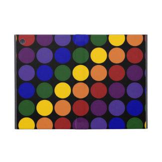 Lunares del arco iris en negro iPad mini funda