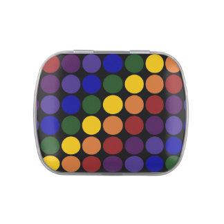Lunares del arco iris en negro latas de caramelos