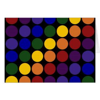 Lunares del arco iris en negro tarjeta de felicitación