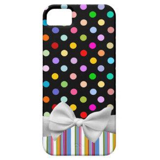 Lunares del arco iris, rayas y cinta blanca funda para iPhone SE/5/5s
