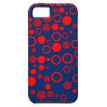 Lunares del arte del azul real y del rojo iPhone 5 Case-Mate protectores
