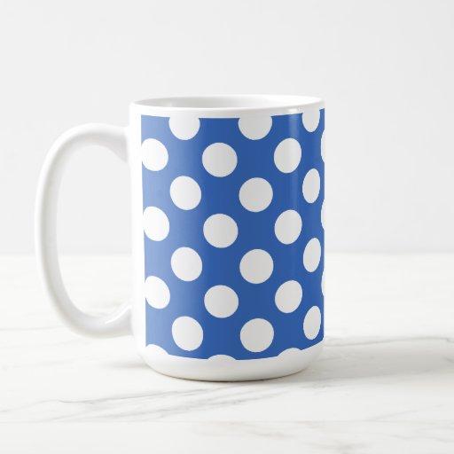 Lunares del azul cerúleo taza básica blanca