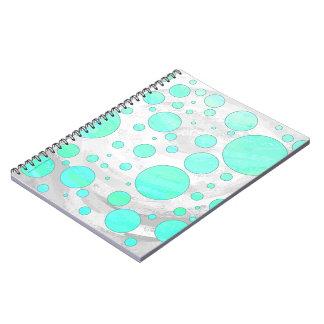 Lunares del azul de la aguamarina del hielo de la spiral notebook