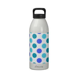 Lunares del azul y del trullo 3-Color Botella De Agua