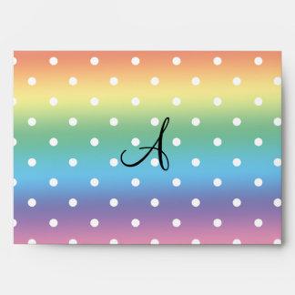 Lunares del blanco del arco iris del monograma