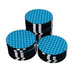 Lunares del blanco del azul de cielo juego de fichas de póquer